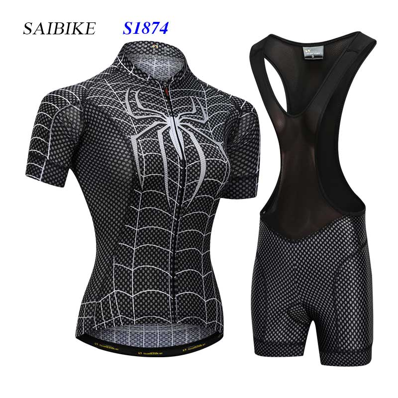 Super Hero cycling jersey sets black spiderman women cycling clothing summer short sleeves bike bicycle tops