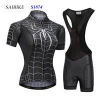 Super Hero cycling jersey sets black spiderman women cycling clothing summer short sleeves bike bicycle tops ropa ciclismo mujer