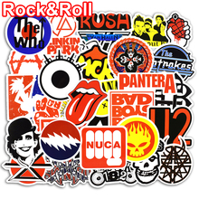 50 Pcs Rock Roll Stickers for Laptop Luggage Bicycle Car Styling Skateboard Motorcycle Vinyl Decal Graffiti