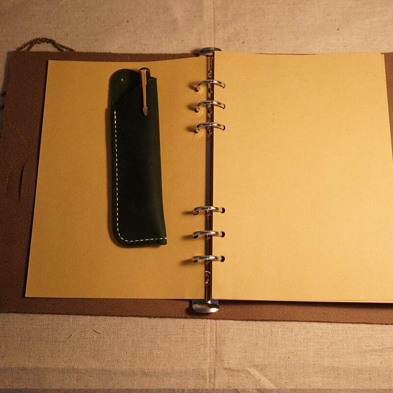 a5 size handmade notebook genuine leather journal cover belt lock brown color book filler kraft papers filler cover letter