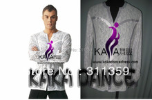 Free shipping,Hight quality boning lace competition Man's latin shirt,man,boy's dance suit-KAKA-M102(each colour,ecah size)
