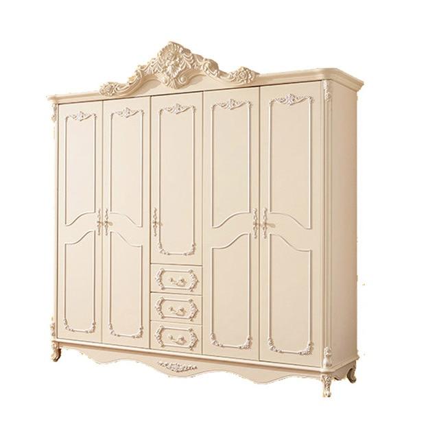 Francés cinco combinaciones de dormitorio de madera sólida armario ...
