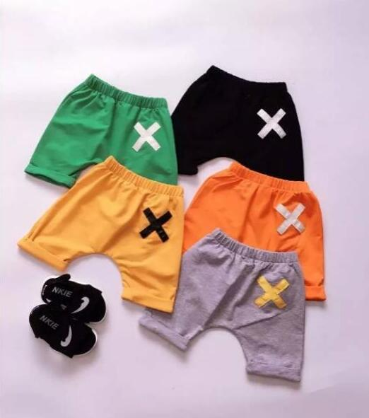 Summer Baby Kids Cotton Harem Pants Cute Fashion Cross Pattern Shorts Knee Length Pants Boys Girls Children Clothing  5 Colors