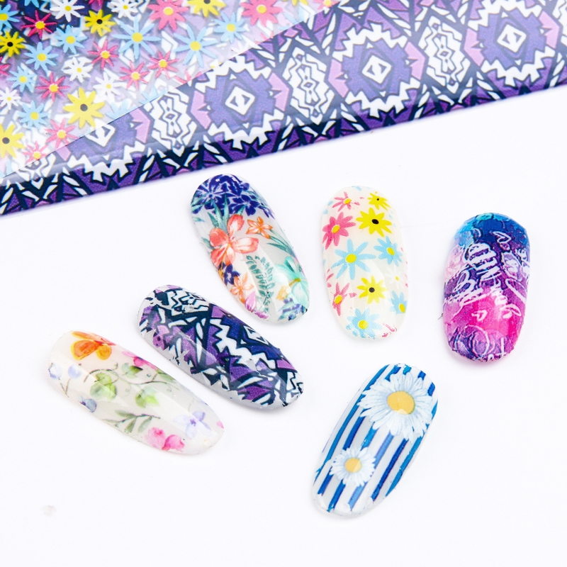 Image 3 - New 12pcs 4*20cm Nail Art Foil Transfer Stickers For Nails Sliders Design Manicure Decals Nail Decoration 3d wraps Flower Set-in Stickers & Decals from Beauty & Health