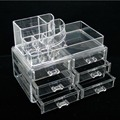 Free Shipping Clear Acrylic Cosmetic Makeup Case Holder Drawers Jewelry Storage Box Gift  13