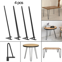 22 Inch Heavy Duty Two Rod Angled Design Coffee Dining Table Hairpin Legs Support Brackets Furniture Accessaries Black