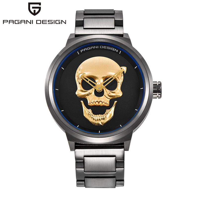 Relojes PAGANI DESIGN Retro Punk 3D Skull Watch Mens Watches Top Brand Luxury Fashion Quartz Wrist Watch Clock Relogio Masculino top brand 2017 new mens sports clock watch retro design leather band analog alloy quartz wrist watches relogio masculino