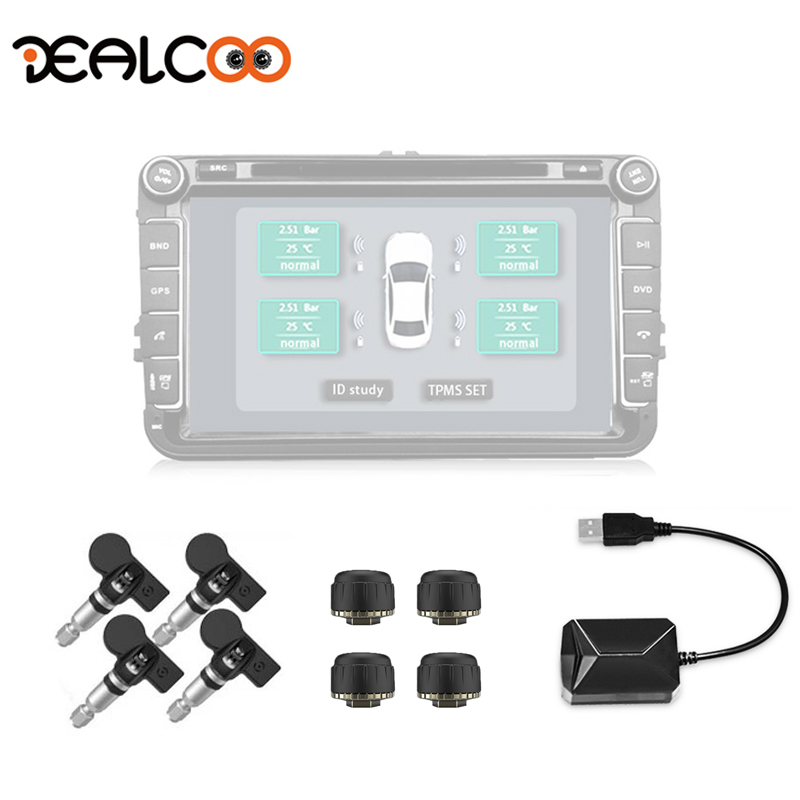 Car Tire Pressure Monitoring System 4 Sensors Alarm Tire Temperature Monitoring System Internal TPMS for Dealcoo Android Car DVD jasco usb tpms auto alarm system with 4 internal sensors wireless tire pressure monitoring for iphone android car player
