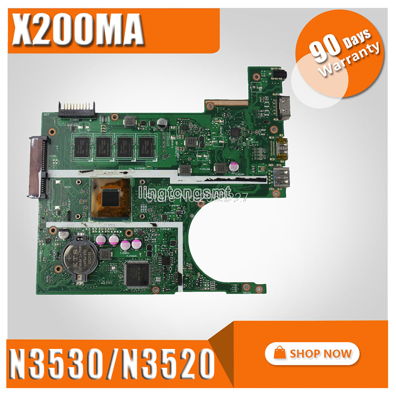 X200MA Motherboard REV2.1 N3530/N3520 For ASUS K200MA F200MA X200MA X200M Laptop motherboard X200MA Mainboard X200MA Motherboard for asus motherboard f200ma f200m x200m x200ma rev2 1 mainboard with n3540u 4g memory test 100
