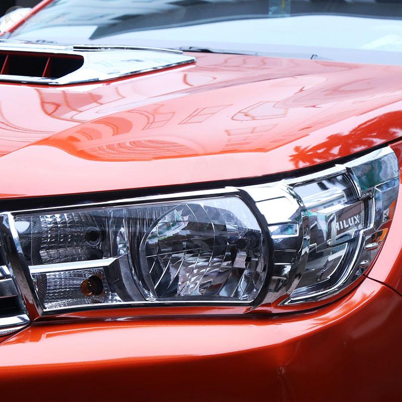 Chrome Accessories Headlights Cover For Toyota Hilux Revo 2016 2017 2018 Basic Version Model