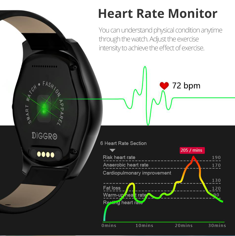 Diggro DI03 Smart Watch MTK2502C IP67 Waterproof Heart Rate Monitor Remote Control Camera Message Push Smartwatch IOS Android 12