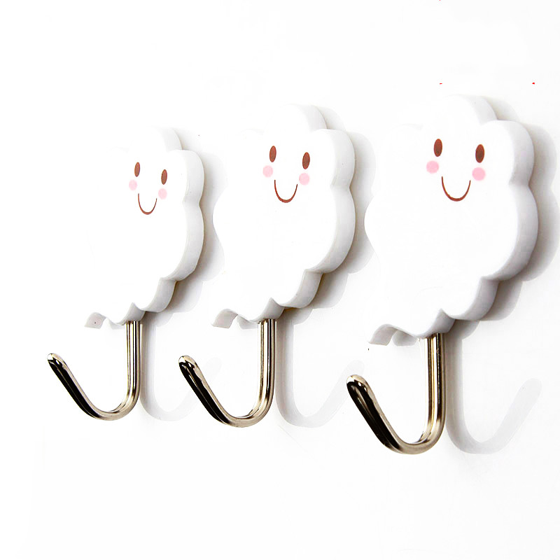 Three Piece Strong Adhesive Sticky Hooks Free Nailed Toilet Wall Hanger Kitchen Wall Hooks For Hanging Small Gargets