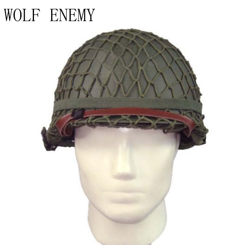NEW WW2 U.S M1 Tactical Military Army Pistol Steel Helmet with Netting Cover WWII Equipment Replica militech usa m1 replica helmet with abs inner helmet ww2 m1 double decker helmet world war 2 usa army safety helmet motorcycle