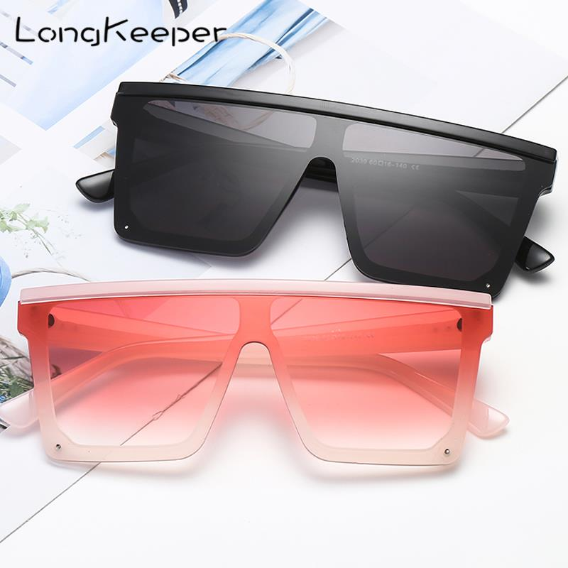 LongKeeper Oversized Square Sunglasses Women Fashion Flat Top Gradient Glasses Men Rimless Brand Disign Gafas De Sol