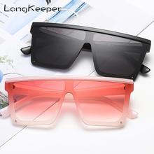 LongKeeper Oversized Square Sunglasses Women Fashion Flat To