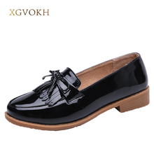 XGVOKH Patent Leather Butterfly-Knot Fringe Loafers British Style Ladies Brogue Shoes Casual Solid Flats Autumn Women Shoes