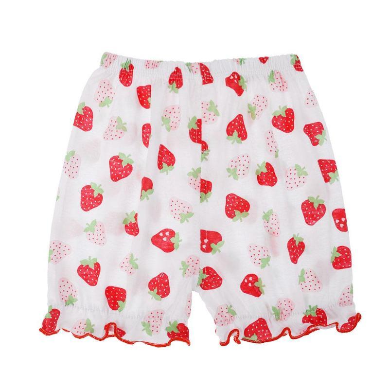 0-3y Zomer Elastische Taille Baby Bloemen Aardbei Apple Hart Print Prinses Katoen Shorts Peuter Meisjes Zomer Halve Lengte Broek Versterkende Taille En Pezen