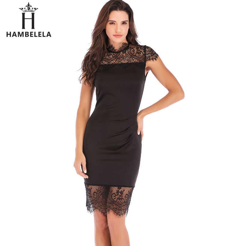 18d781f289e HAMBELELA Для женщин короткий рукав кружева лоскутное повязку элегантное  платье по колено миди «карандаш»