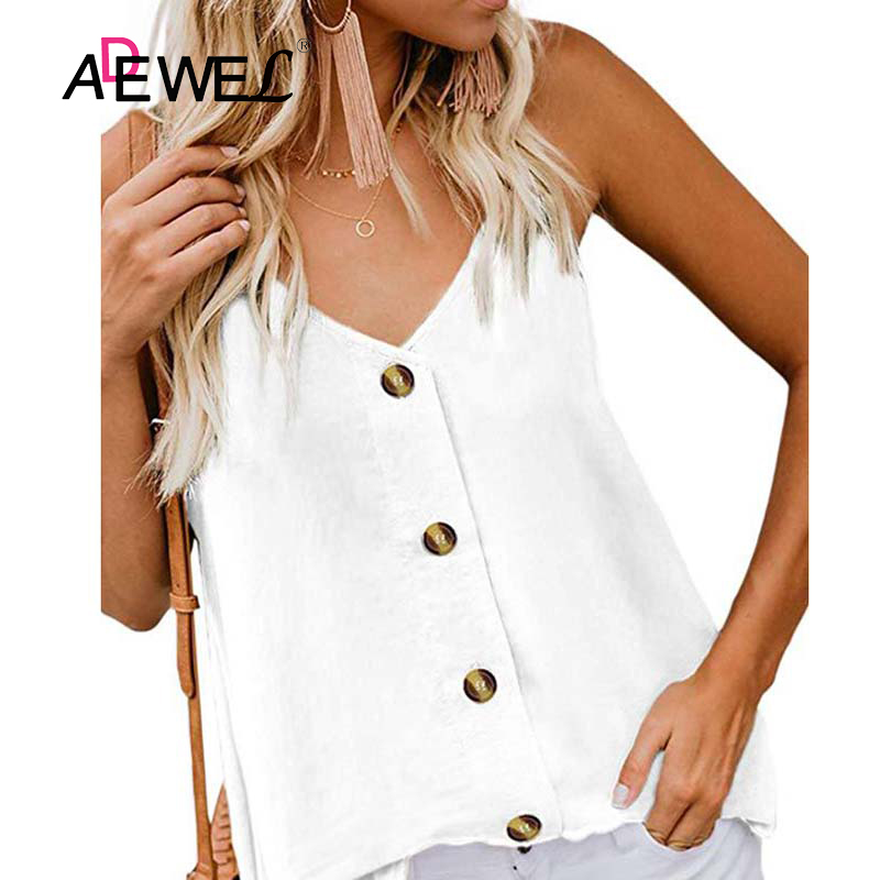 ADEWEL Summer Button Women Tops Sleeves Casual V Neck Vest Stretchable Womens Tops And Blouses Black White Female Shirt Blusas
