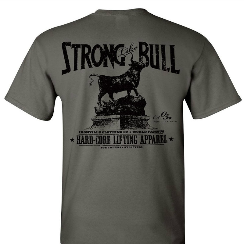 Ironville Strong Like Bull Powerlifting T Shirt 100% Cotton T Shirts Brand Clothing Tops Tees