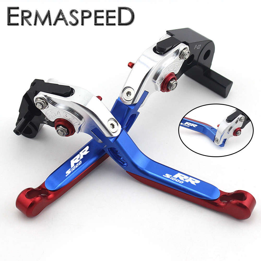 Tricolor Motorcycle CNC Aluminum Brake Clutch Levers Extendable Folding Lever Set Pair Red Blue White for BMW S1000RR 2010-2017 for yamaha nmax 155 nmax155 all yreas cnc motorcycle adjustable folding extendable 170mm lever hot clutch brake levers 2 styles