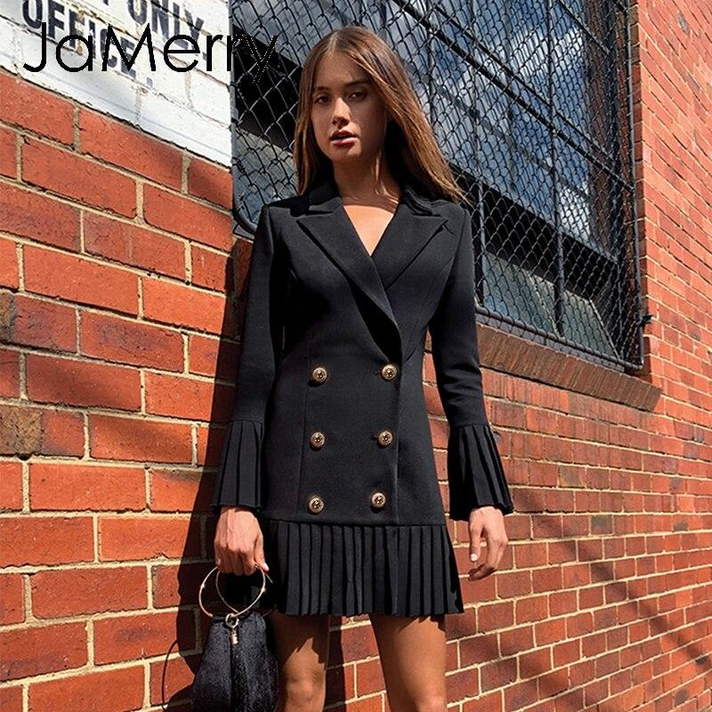 Image 2 - JaMerry Vintage ruffled double breasted women dress Office lady  casual blazer black dress Autumn winter slim work wear dressesDresses