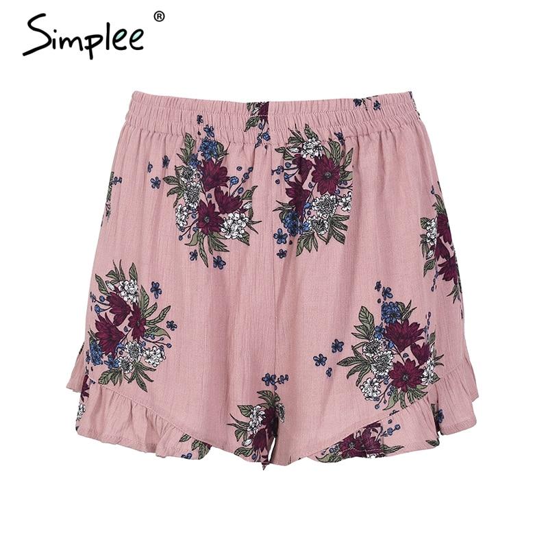 Simplee Floral Print Shorts Women Elastiac Waist Pleated Beach Summer Shorts Casual Streetwear Loose Shorts 2018