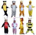 Frete grátis, urso pato abelha sapo crocodile macaco panda vaca cão lobo cosplay roupas crianças animal traje para o miúdo, 30 estilos
