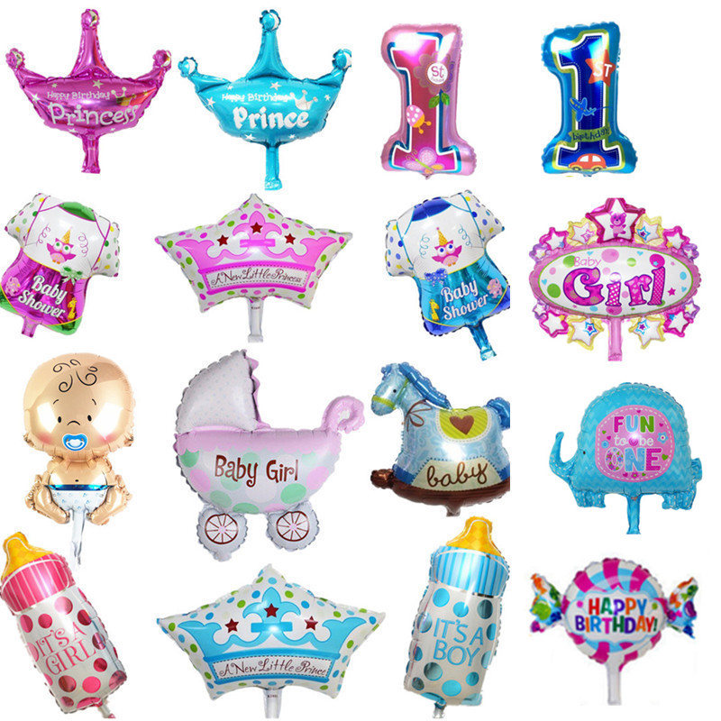 Kids birthday balloons Mini Crown number Balloons  Boy Happy birthday candy prin