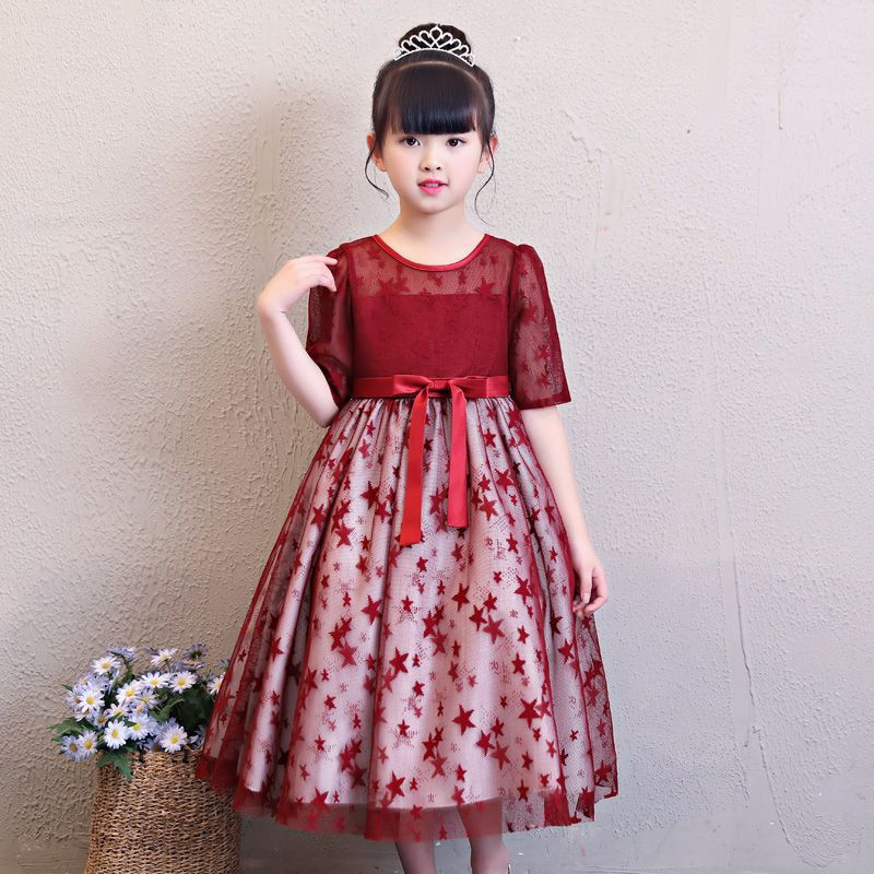 Lovely girl birthday party star dress half sleeve solid kids lace mesh clothes for 4 to 9 years girl party performance vestidos girl