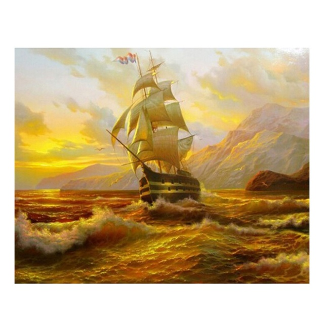 5D Diamond Embroidery Cross Stitch Sunset Sailing Square Diamond Sets Unfinish Decorative DIY Painting
