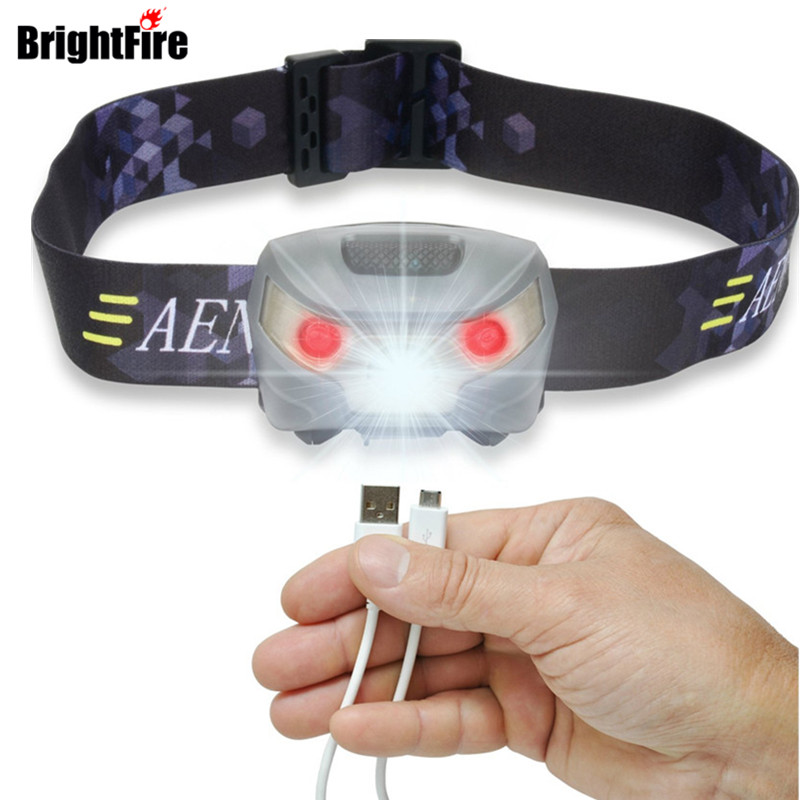 Brightfire USB Rechargeable LED Headlamp Flashlight Super Bright Waterproof & Comfortable Headlight r3 2led super bright mini headlamp headlight flashlight torch lamp 4 models