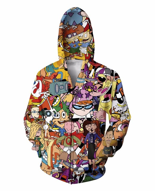 2015 Hipster Totally 90s cartoons  Zip-Up Hoodie  punk  3d Print Women Men Sweatshirts Jumper Outfits Casual Sweats