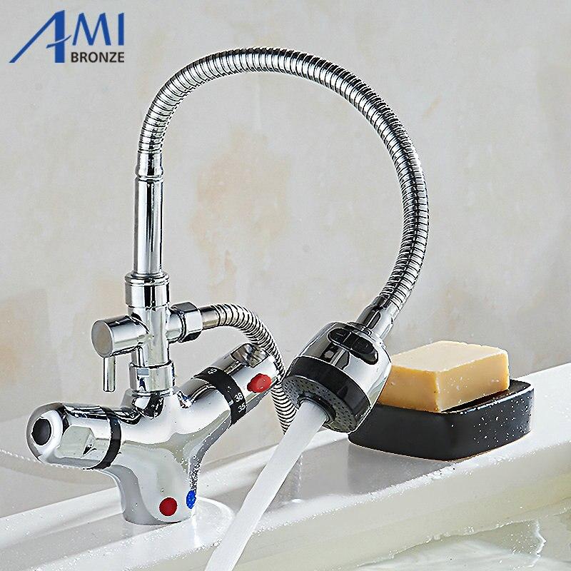 Термостат Смесители для ванной комнаты Кухня кран Для ванной ванна горячая холодная смесителя кран латунь 360 Поворотный Смесители для умыв...