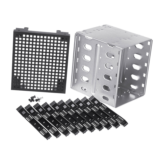 "Wholesale 5.25"" to 5x 3.5"" SATA SAS HDD Cage Rack Hard Drive Tray Caddy Adapter Converter with Fan Space Sliver"