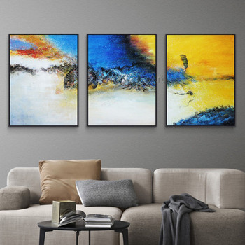 3 pieces gold art abstract canvas painting wall art pictures for living room home wall decor quadro decor original thick texture