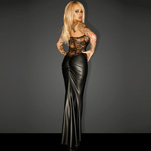 Black Wet Look Vinyl Leather Maxi Dress Long Sexy Sheer Lace Embroidery Off Shoulder Tunic Night Club Dresses Vestidos