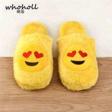 Whoholl Emoji Slipper Furry Cute Women Slippers Winter Yellow Comfortable Unisex Cartoon Female Big Size 36-45