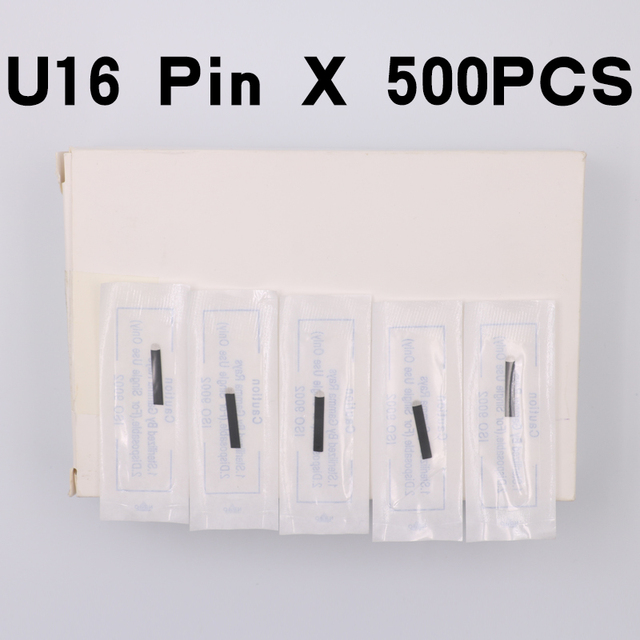 Black Microblading Needles 0.18mm U Shape 16 pins Blades Professional For Permanent Microblading Embroidery Pen 500pcs