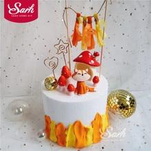 앉아 여우 버섯 하우스 케이크 토퍼 소년 소녀 생일 디저트 장식 어린이 날 파티 용품 사랑스러운 선물