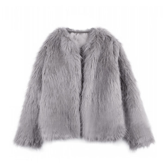 Elegant faux fur coat jacket fashion autumn winter parka jacket women Fluffy warm long sleeve female outerwear hairy overcoat