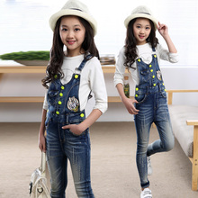 Girls Denim Bib Pants Girls 2-12years Button Trim Braces Suspenders Retro Pants For Girl Special Teenager Denim Rompers