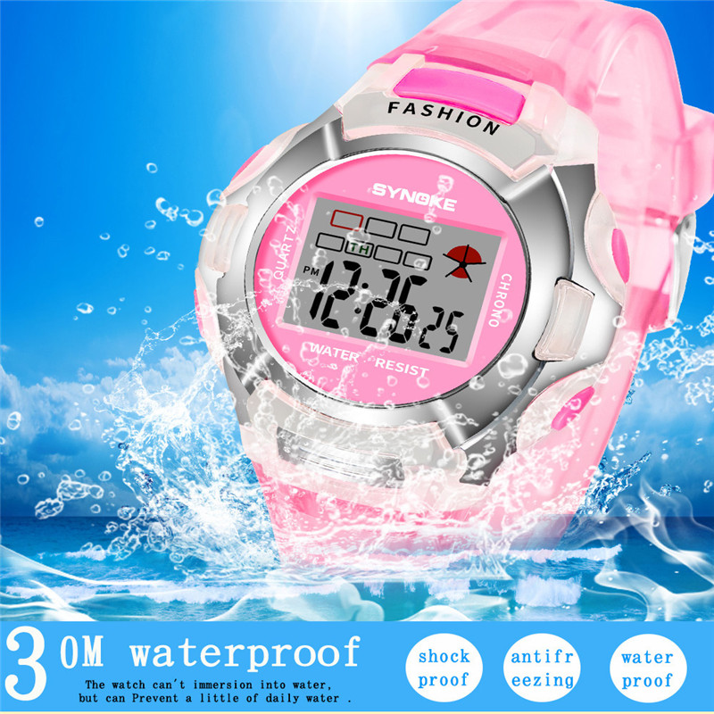 SYNOKE Fashion Children Watch Boys Girls LED Digital Sports Watches Plastic Kids Alarm Date Casual Watch Select Gift For Kid 233