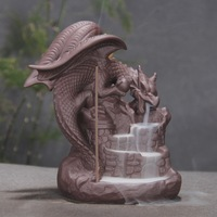 Ceramic Backflow Incense Burner Creative Home Decor Dragon Incense Holder Censer Western giant dragon + 10Pcs Incense Cones