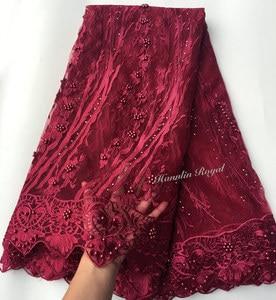 Image 5 - Nero Fucsia bella guipure delimitato Francese del merletto cucito tessuto di tulle maglia Africano del merletto con un sacco di perline 5 metri di buona la scelta