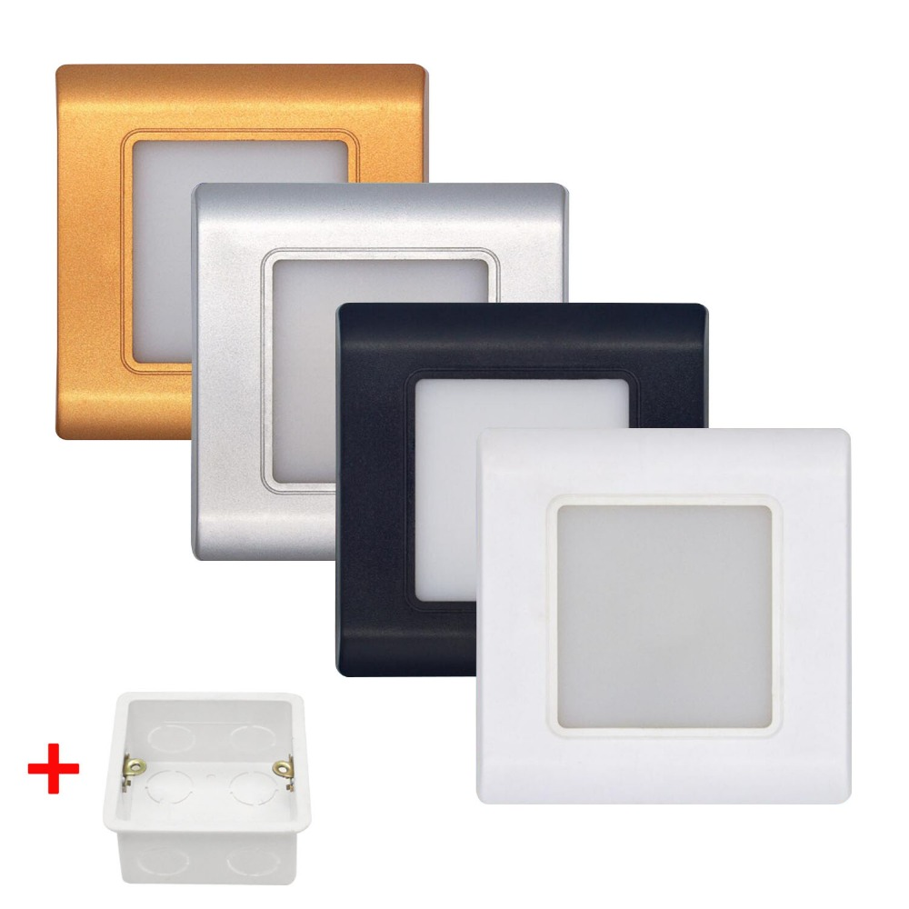 LED Stair Light Wall Lamp Square Recessed Step Lamp  Aisle Lights Footlight Embedded Walls Lighting With 86 Type BOX