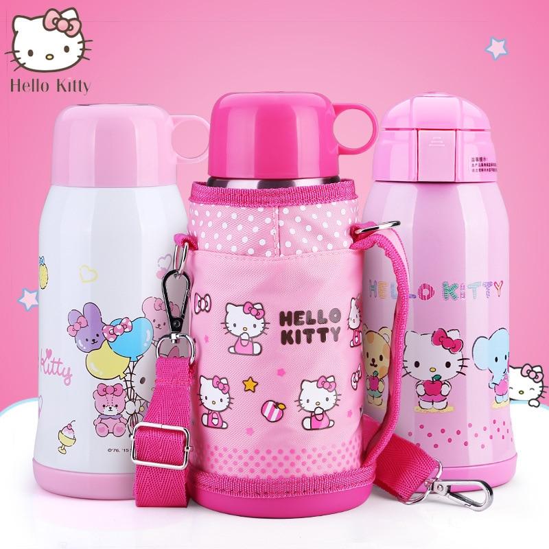 600 ML qualité supérieure Hello Kitty handcup handcup Bande dessinée étanche portable étudiant bouteille d'eau chaude Pour cadeaux d'anniversaire de filles