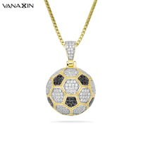 VANAXIN 925 Sterling Silver Football Pendant Necklace Hiphop AAA CZ Bling Bling Iced Jewelry Accessory Paved 925 Pendants Box