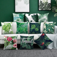 45*45Tropical rainforest plant chair pillow cover cushion cover polyester Polyester Throw Pillow Sofa Home Decorative Pillowcase cheap Printed Plain Woven Square Seat 100 Polyester 26 colors 45x45cm throw pillows cushions home decor pillow covers decorative