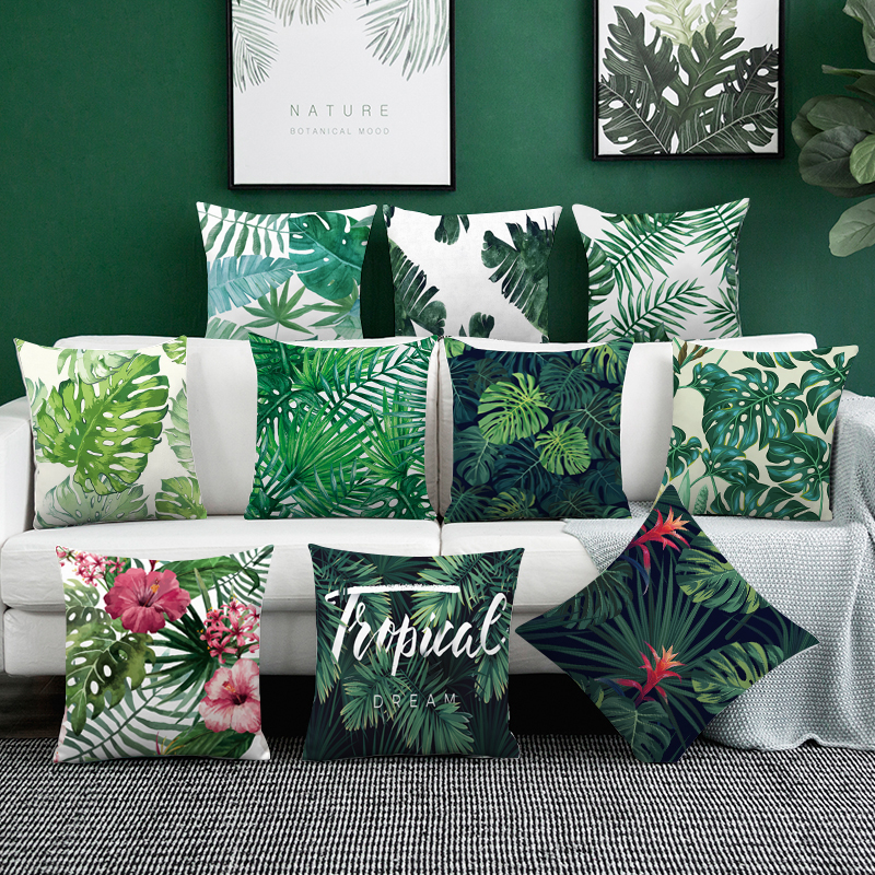45*45Tropical Rainforest Plant Chair Pillow Cover Cushion Cover Polyester Polyester Throw Pillow Sofa Home Decorative Pillowcase